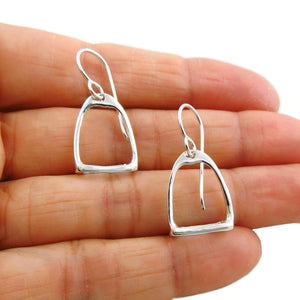 Solid 925 Silver Equestrian Horse Stirrup Earrings