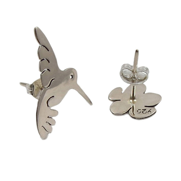 Solid Sterling 925 Silver Hummingbird and Flower Earrings