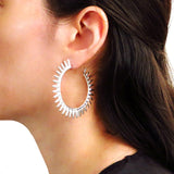 Large Solid Sterling 925 Silver Modernist Spiky Circle Hoops Earrings