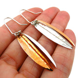 Solid 925 Silver and Copper Drop Earrings