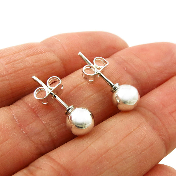 Small 925 Sterling Silver Ball Bead Stud Earrings in a Gift Box