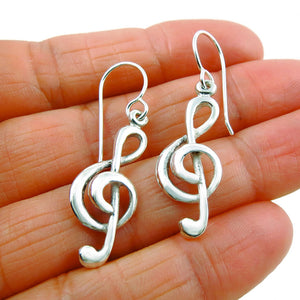 925 Sterling Silver Music Note Treble Clef Earrings