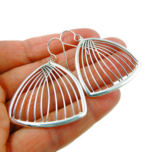 Large 925 Sterling Silver Earrings Wide Fan Shaped Design