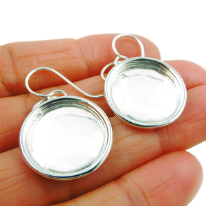 Solid 925 Sterling Silver Circle Drop Earrings Taxco