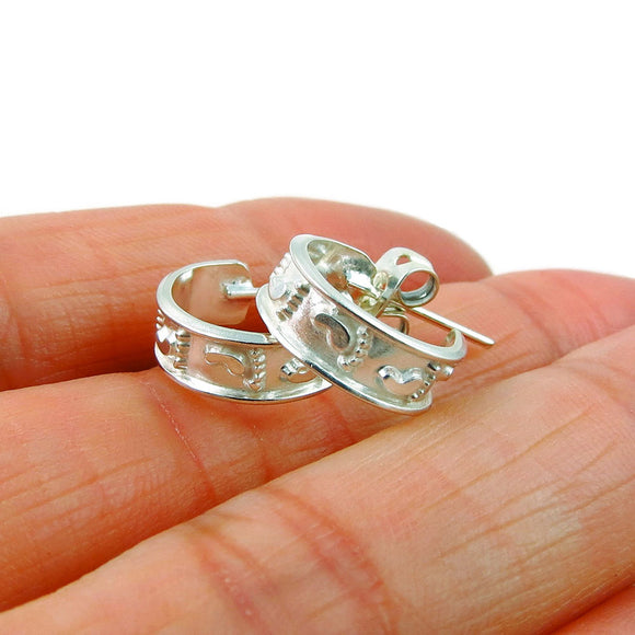 925 Sterling Silver Hoops Baby Feet Footprints Gift for Mom Earrings