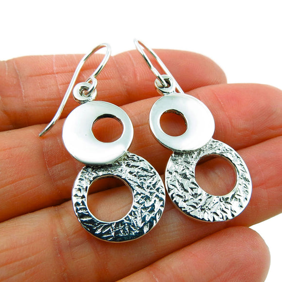 925 Solid Sterling Silver Earrings Two Tone Circle Drops Taxco Mexico