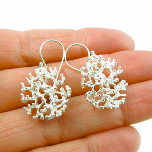 925 Sterling Silver Coral Shaped Earrings