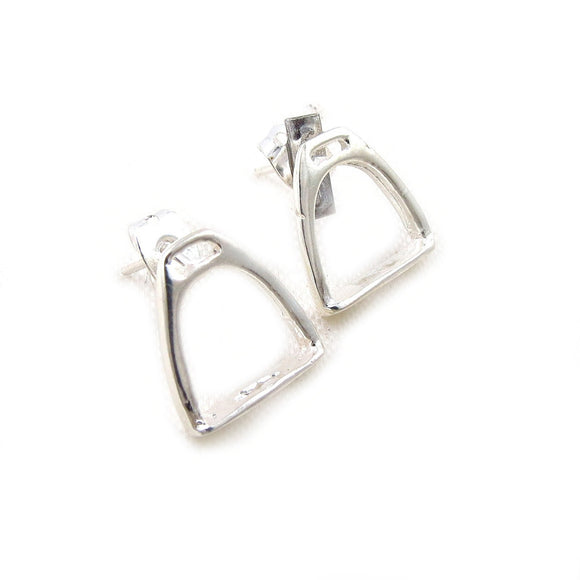 Solid 925 Silver Equestrian Horse Riding Tack Saddle Stirrup Earrings