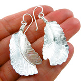Solid 925 Sterling Silver Feather Earrings Taxco