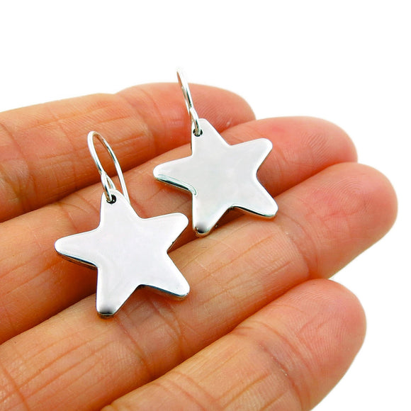 Celestial Star 925 Solid Sterling Silver Drop Earrings