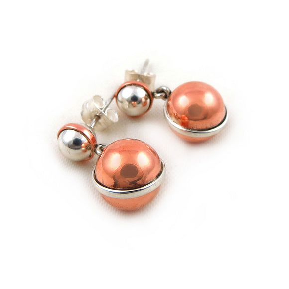 925 Silver and Copper Handmade Designer Ball Bead Earrings ina  Gift Box