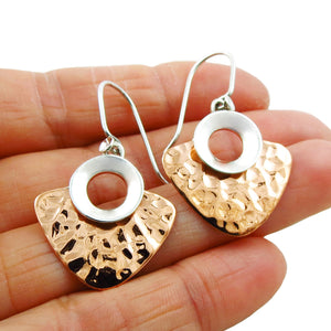 925 Sterling Silver and Hammered Copper Hoops Earrings