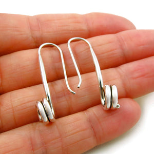 Long Solid 925 Sterling Silver Curled Threader Drop Earrings