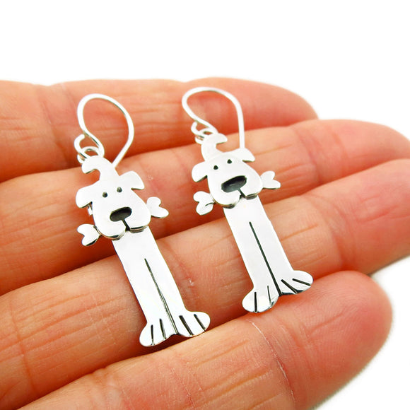 Long Dog 925 Sterling Silver Canine Animal Earrings