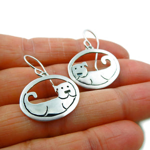 925 Sterling Silver Circle Canine Dog Animal Earrings