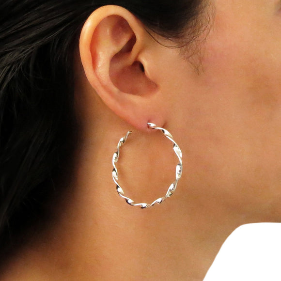 Large 925 Sterling Silver Twisted Hoops Circle Earrings