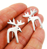 Solid Sterling 925 Silver Moose Elk Buck Earrings