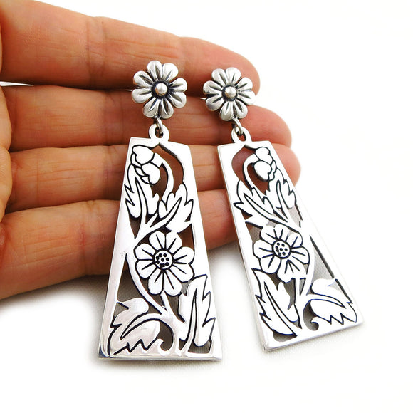 Large Taxco 925 Sterling Silver Flower Drop Earrings