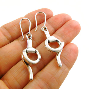 Snaffle 925 Sterling Silver Curved Horse Bit Earrings