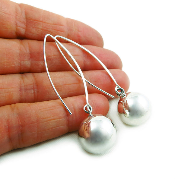 Long Threader 925 Sterling Silver Ball Bead Drop Earrings Gift Boxed