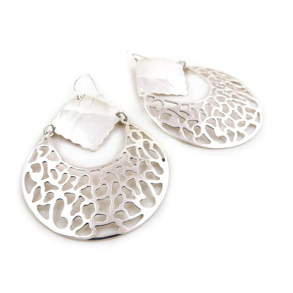 Large Filigree 925 Sterling Silver Drop Earrings