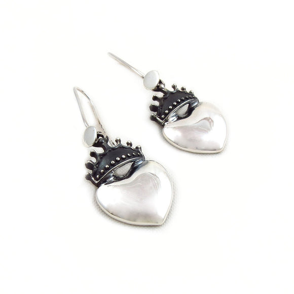 Coronation Heart 925 Sterling Taxco Silver Drop Earrings