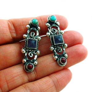 Taxco 925 Sterling Silver Matl Inspired Drop Earrings