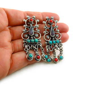 Taxco 925 Sterling Silver Matl Inspired Large Drop Earrings