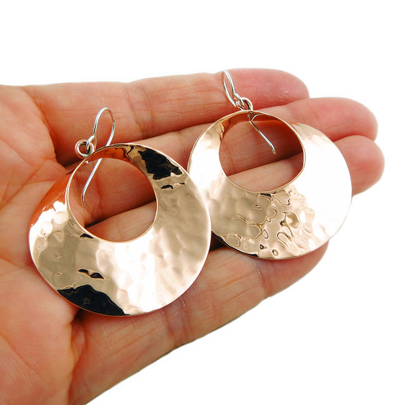 Solid Hammered Copper Circle Drop Earrings