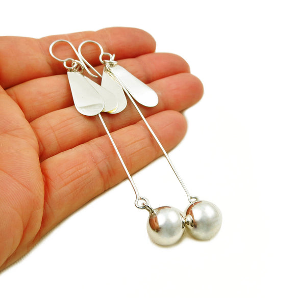 Long Stick and Ball Bead 925 Sterling Silver Drop Earrings Gift Boxed