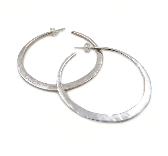 Hoops 925 Sterling Silver Hammered Circle Hoop Earrings