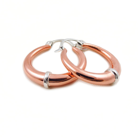 925 Sterling Silver and Copper Creole Hoops Earrings