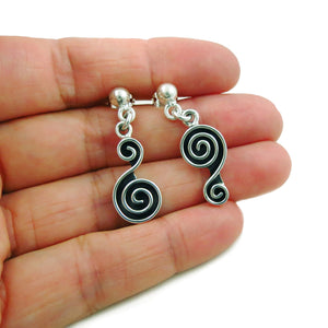 Maze 925 Sterling Taxco Silver Circle Drop Earrings