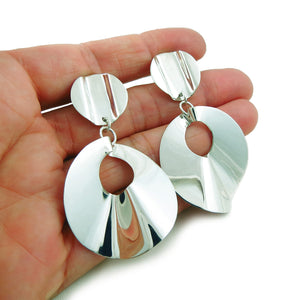 Large Drop Earrings Curved Circle 925 Sterling Silver Disc Design