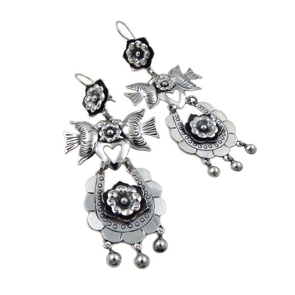 Designer 925 Sterling Taxco Silver Chandelier Drop Earrings