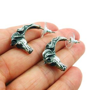 Equestrian Horse Head Designer 925 Sterling Silver Earrings Gift Boxed