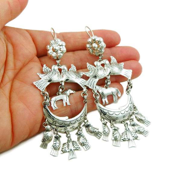 Long Designer 950 Silver Horse Chandelier Earrings