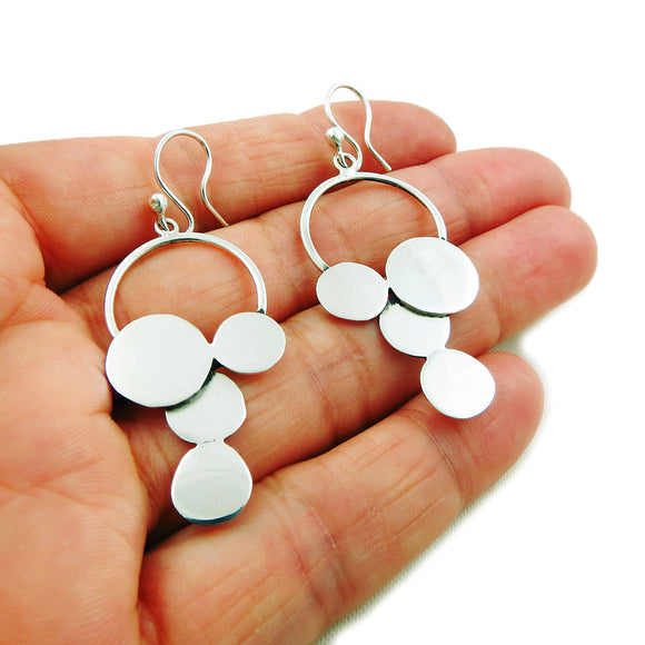 Circle Drop 925 Solid Sterling 925 Silver Earrings