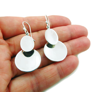 Circle Disc Earrings Solid 925 Sterling Silver