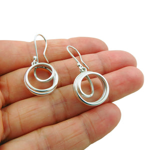 Circle Drop Earrings 925 Sterling Taxco Silver