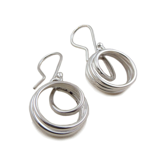Spiral 925 Sterling Silver Drop Earrings in a Gift Box