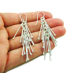 Sticks 925 Sterling Silver Cluster Earrings in a Gift Box