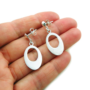 925 Sterling Silver Oval Drop Earrings Gift Boxed