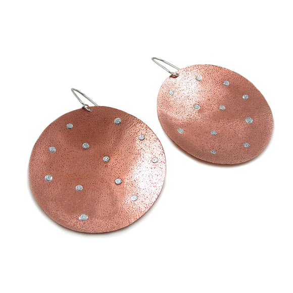Large Hammered Copper and 925 Silver Circle Disc Earrings