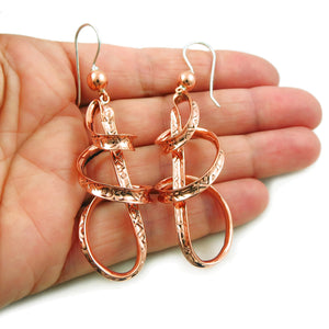 Long Solid Copper Curved Drop Earrings