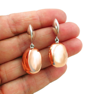 Large 925 Sterling Silver and Copper Oval Drop Earrings