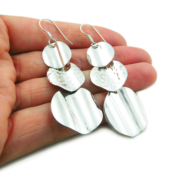 Long 925 Sterling Silver Circle Drop Earrings in a Gift Box