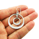 Double Circle Hoop 925 Taxco Silver Drop Earrings