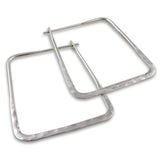 Square 925 Sterling Silver Hammered Earrings Gift Boxed