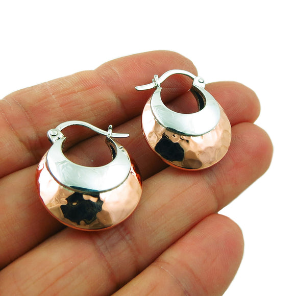 Creole Hoops 925 Sterling Silver and Hammered Copper Drop Earrings